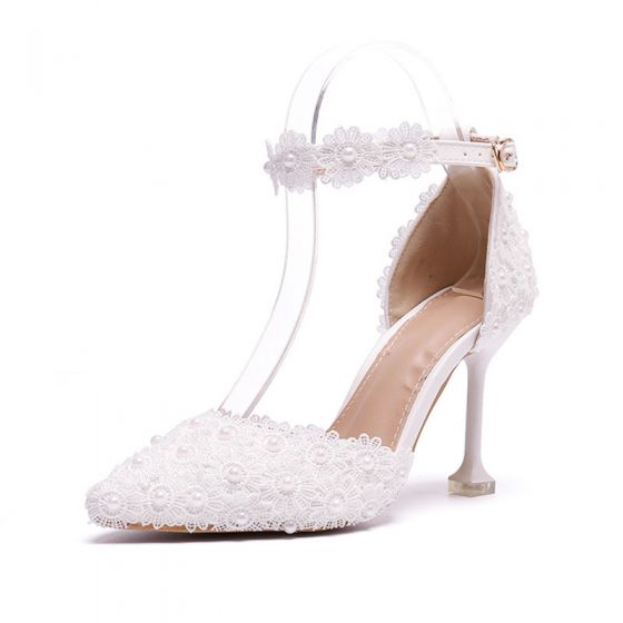 Elegant Ivory Prom Womens Shoes 2020 Pearl Lace Flower Ankle Strap 8 cm Stiletto Heels Pointed Toe Heels