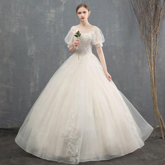 ccc5ed90fb517 Elegant Ivory Wedding Dresses 2018 Ball Gown Beading Crystal Sequins Lace  Flower Scoop Neck Short Sleeve Backless Floor-Length / Long Wedding