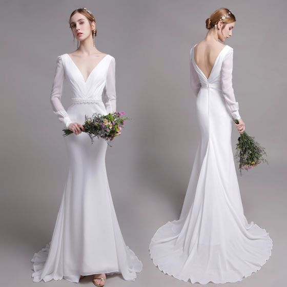 Charming Solid Color White Beach Wedding Dresses 2019 Trumpet / Mermaid V-Neck Pearl Lace Flower Sash Long Sleeve Backless Sweep Train