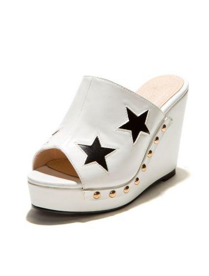 Moda Cuñas Plataforma Estrellas De Las Blanco Sandalias Con WEeYH9IbD2