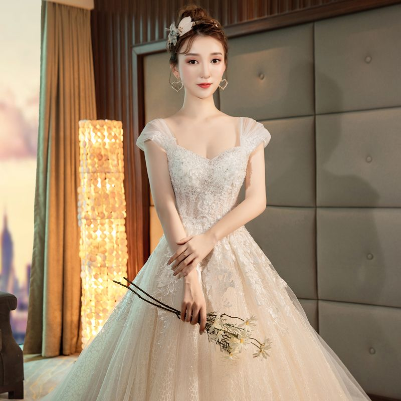 Charming Champagne Wedding Dresses 2019 A-Line / Princess Square Neckline Appliques Beading Lace Flower Sequins Sleeveless Backless Royal Train