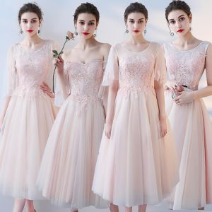 Chic / Beautiful Pearl Pink Bridesmaid Dresses 2018 A-Line / Princess Appliques Lace Tea-length Ruffle Backless Wedding Party Dresses