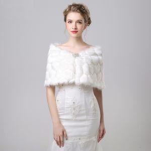 Witte Winter Slangenprint Nep Bont Gala Avond Huwelijk Sjaals 2017