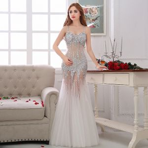 Sexy Formal Dresses 2017 Evening Dresses  White Trumpet / Mermaid Floor-Length / Long Backless Spaghetti Straps Sleeveless Sequins Rhinestone