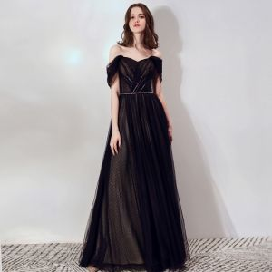 Chic / Beautiful Black Evening Dresses  2019 A-Line / Princess Off-The-Shoulder Short Sleeve Spotted Tulle Beading Sash Formal Dresses Ruffle Backless Floor-Length / Long
