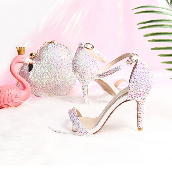 Bling Bling White Wedding Sandals 2019 Summer PU Beading Rhinestone 9 cm Wedding Shoes