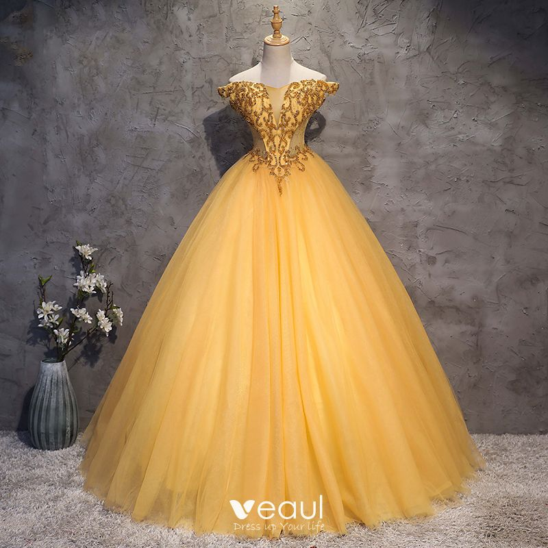 Vintage Retro Gold Prom Dresses 2018 Ball Gown Off The Shoulder Short Sleeve Beading Crystal Rhinestone Floor Length Long Ruffle Backless Formal