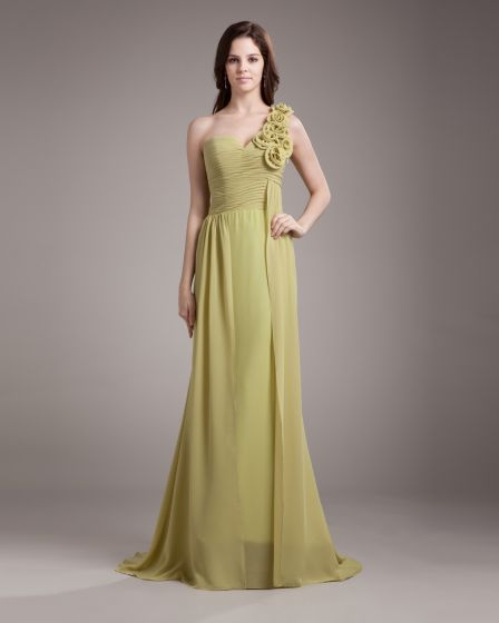 One Shoulder Flower Pleated Floor Length Chiffon Woman Bridesmaid Dress