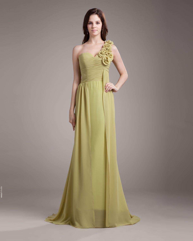 One Shoulder Flower Pleated Floor Length Chiffon Woman Bridesmaid Dress