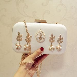 Chic / Beautiful White Pearl Rhinestone Clutch Bags 2018