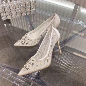Charming White Lace Wedding Shoes 2020 Pearl Rhinestone 10 cm Stiletto Heels Pointed Toe Wedding Pumps
