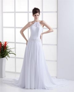 Sheath Halter Chiffon Wedding Dress