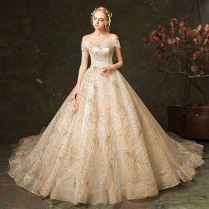 Elegant Champagne Wedding Dresses 2019 A-Line / Princess Off-The-Shoulder Glitter Embroidered Short Sleeve Backless Royal Train