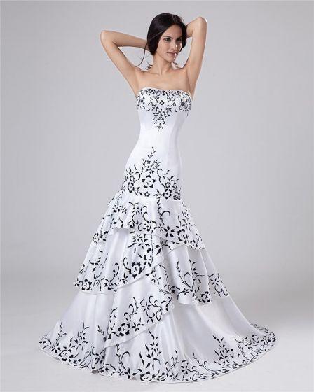 Satin Beading Ruffles Sweetheart Cathedral Train Sheath Wedding Dresses