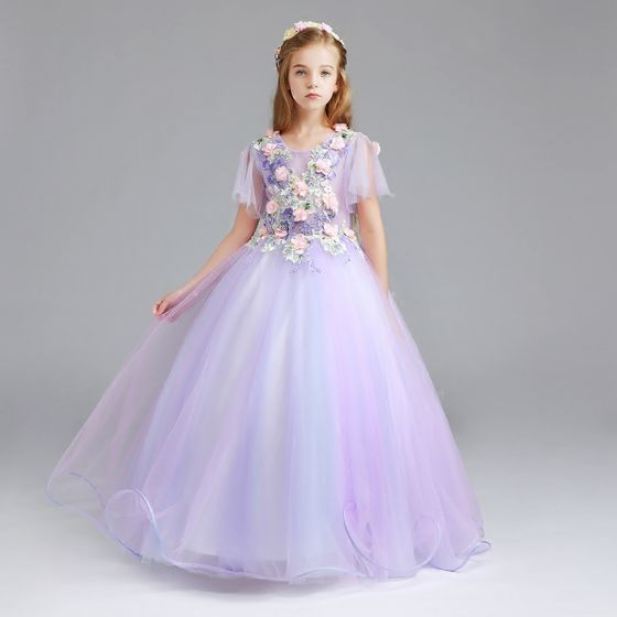 Chic / Beautiful Lavender Flower Girl Dresses 2017 Ball Gown Scoop Neck Short Sleeve Appliques Flower Pearl Rhinestone Floor-Length / Long Ruffle Wedding Party Dresses