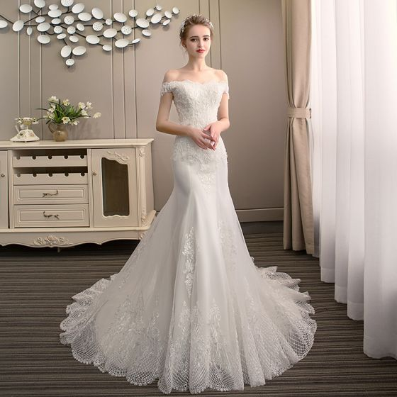 Classy Ivory Wedding Dresses 2019 Backless Trumpet / Mermaid Off-The-Shoulder Beading Pearl Lace Flower Sleeveless Court Train