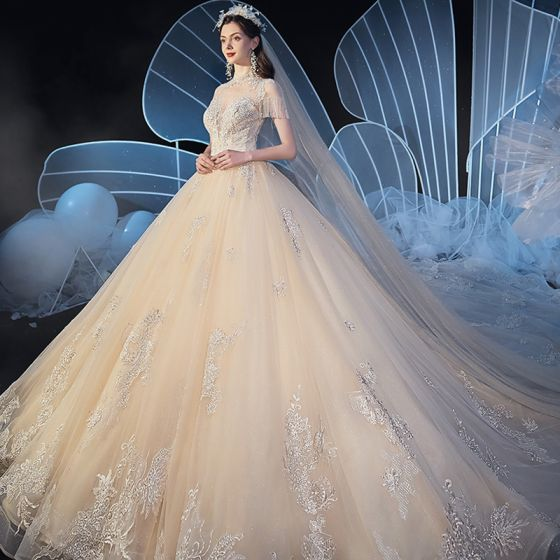 Vintage / Retro Champagne See-through Wedding Dresses 2019 Ball Gown High Neck Short Sleeve Beading Tassel Glitter Tulle Appliques Lace Cathedral Train Ruffle