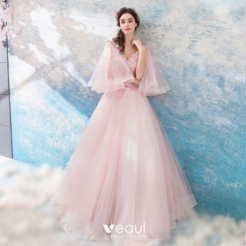 Hermoso Perla Rosada Vestidos De Gala 2018 A Line Princess Largos V Cuello Tul Apliques Sin Espalda Rebordear Gala Vestidos Formales