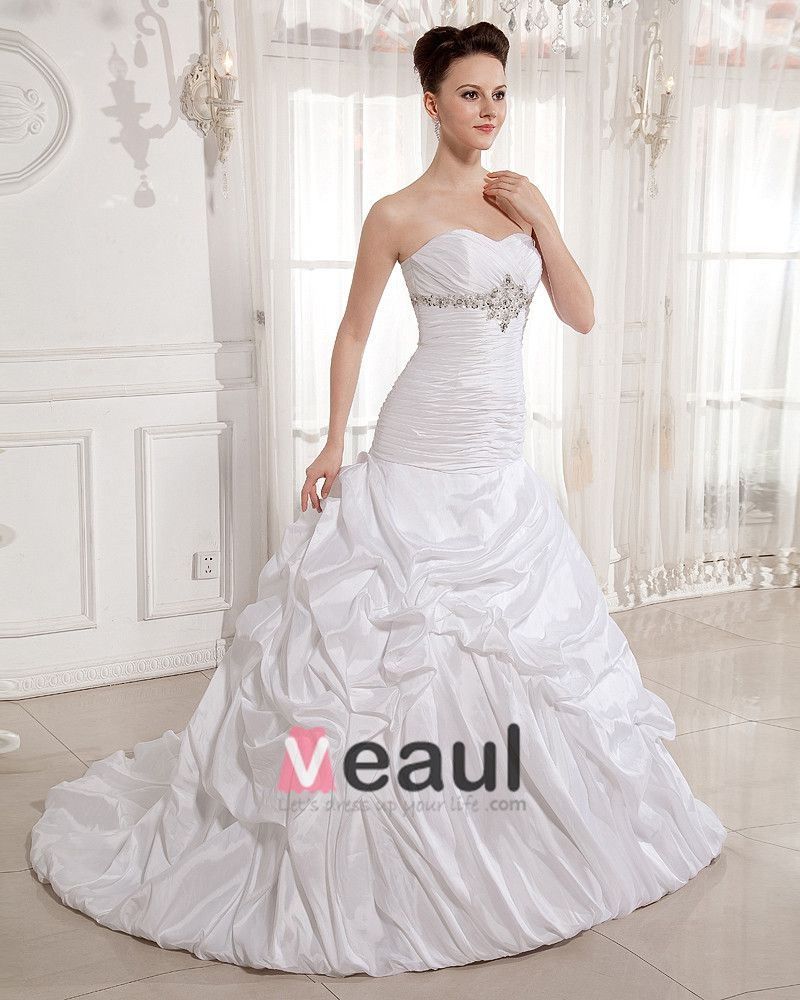 Ruffle Beads Sweetheart Court Empire Bridal Gown Wedding Dress