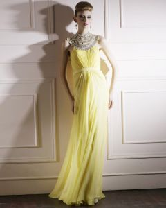 Silk Tulle Charmeuse Jewel Bead Floor Length Evening Dress
