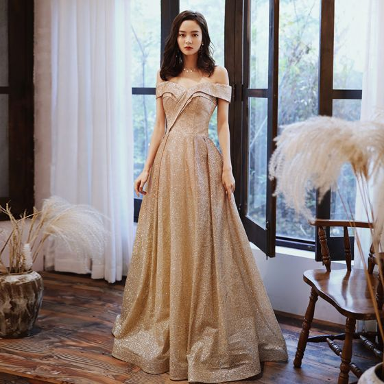 Chic / Beautiful Gold Prom Dresses 2020 A-Line / Princess Off-The-Shoulder Short Sleeve Glitter Polyester Floor-Length / Long Ruffle Backless Formal Dresses