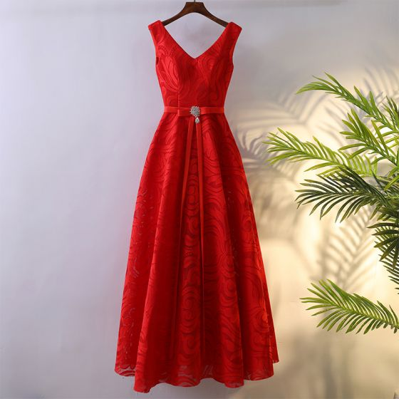 Chic / Beautiful Red Formal Dresses Evening Dresses  2017 Lace Bow Ankle Length V-Neck Empire Sleeveless