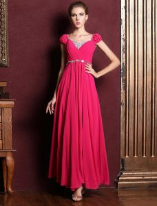 Princess Sleeves Beading Rhinestone Crystal Ruffle Chiffon Maxi Evening Dress