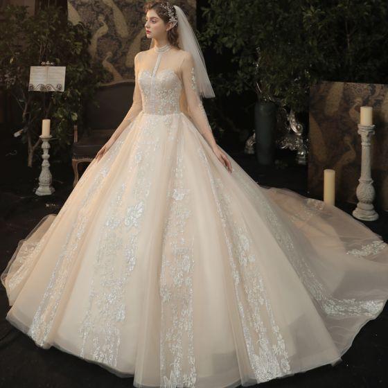 Vintage / Retro Champagne See-through Bridal Wedding Dresses 2020 Ball Gown High Neck 3/4 Sleeve Glitter Appliques Flower Chapel Train Ruffle