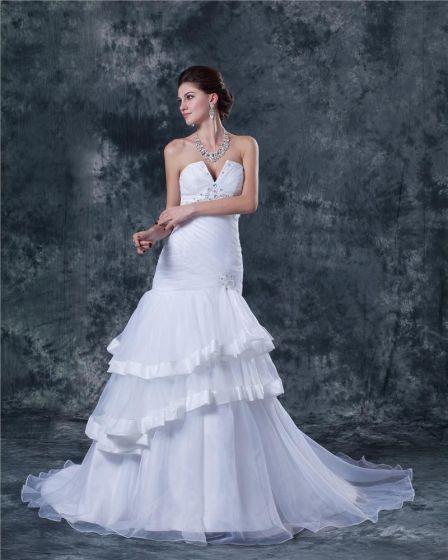 Organza Alskling Kapell A-line Brudklänningar Bröllopsklänningar