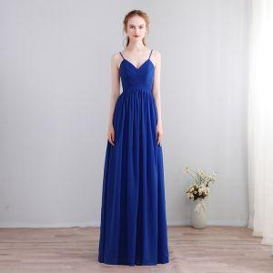 Charmant Sexy Lange Königliches Blau Abendkleider 2018 A Linie Chiffon V-Ausschnitt Schnüren Rückenfreies Perlenstickerei Festliche Kleider