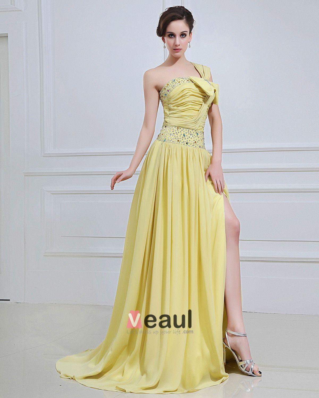 Chiffon Ruffle Beaded Bowtie One-Shoulder Floor Length Prom Dresses