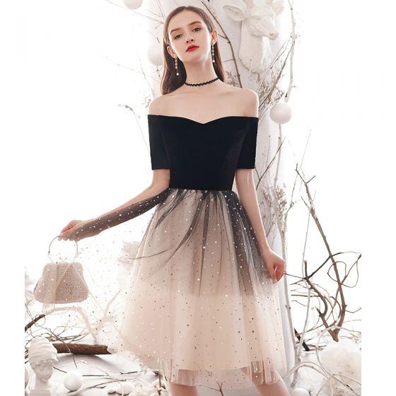 Mode Dégradé De Couleur Noire Robe De Soirée 2020 Princesse Encolure Carrée Étoile Paillettes 1/2 Manches Dos Nu Mi-Longues Robe De Ceremonie
