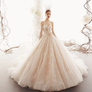 Elegant Champagne Wedding Dresses 2019 Princess Spaghetti Straps Sleeveless Backless Appliques Lace Pearl Beading Chapel Train Ruffle