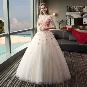 Chic / Beautiful Outdoor / Garden Champagne Wedding Dresses 2017 Ball Gown Pierced Scoop Neck 3/4 Sleeve Backless Appliques Flower Rhinestone Floor-Length / Long