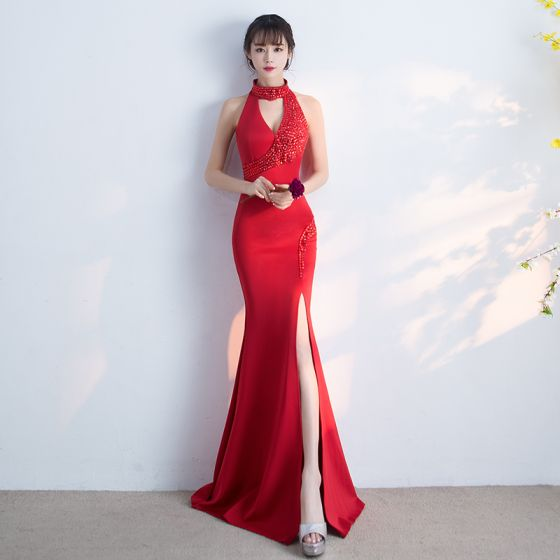 Sexy Party Dresses 2017 Split Front Rhinestone V-Neck Halter Sleeveless Floor-Length / Long Red Trumpet / Mermaid Evening Dresses