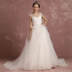 Elegant Ivory Wedding Dresses 2018 A-Line / Princess Square Neckline Sleeveless Backless Appliques Lace Rhinestone Sash Court Train