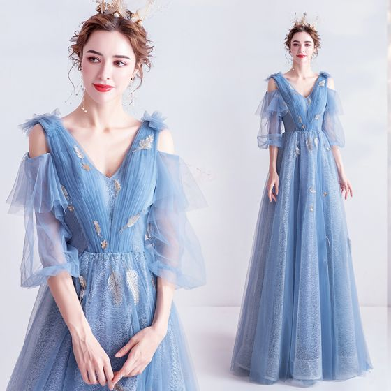 Charming Sky Blue Evening Dresses  2020 A-Line / Princess V-Neck Lace Sequins 1/2 Sleeves Backless Floor-Length / Long Formal Dresses