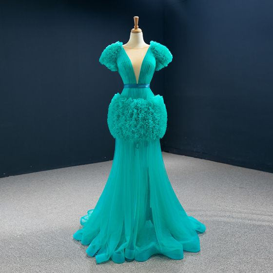 High-end Jade Green Red Carpet Evening Dresses  2020 Trumpet / Mermaid See-through Deep V-Neck Short Sleeve Sash Sweep Train Ruffle Formal Dresses