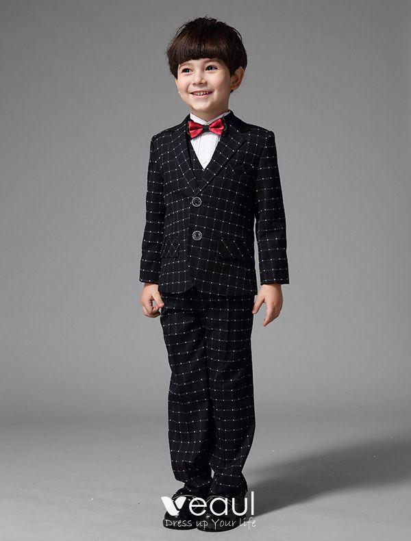 populärt varumärke rimligt pris nyaste kollektion Pojkar Svarta Kostymer Med Vit Rutig Barn Dräkter 4 Uppsättningar ...