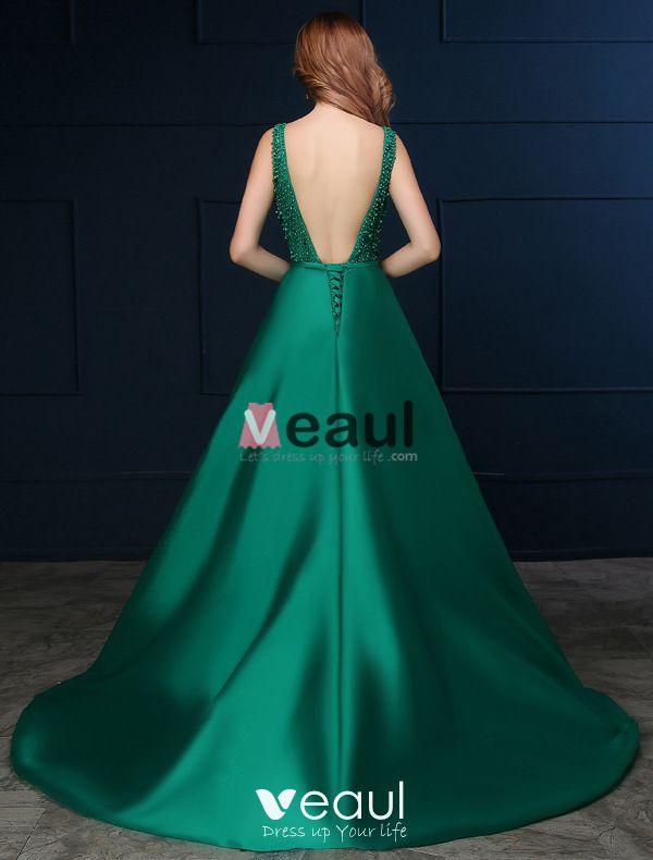 2016 Deep V-neck Beaded Lace Backless Dark Green Satin Long Prom Dress