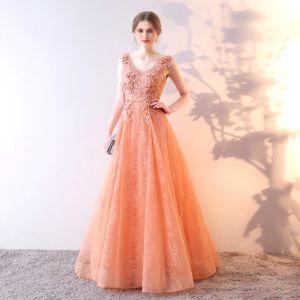 Schöne Orange Abendkleider 2017 A Linie Mit Spitze Blumen Pailletten V-Ausschnitt Rückenfreies Ärmellos Lange Festliche Kleider
