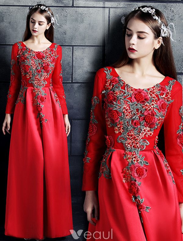 Vintage Prom Dresses 2017 Scoop Neck Applique Lace Flowers Chinese Style Dress