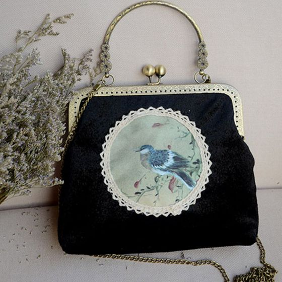 Chinese style Vintage / Retro Black Velour Embroidered Clutch Bags 2020