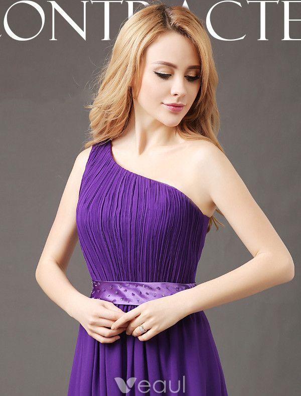 Elegant Bridesmaid Dresses 2017 One Shoulder Ruffle Chiffon Dress With Sash