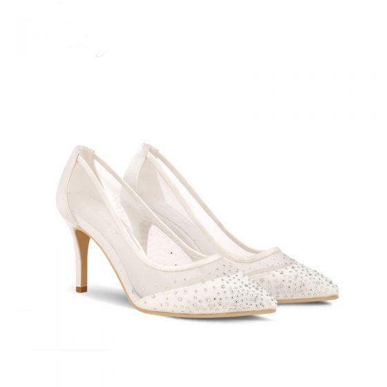 Élégant Blanche Chaussure De Mariée 2019 Cuir Faux Diamant 8 cm Talons Aiguilles À Bout Pointu Mariage Escarpins