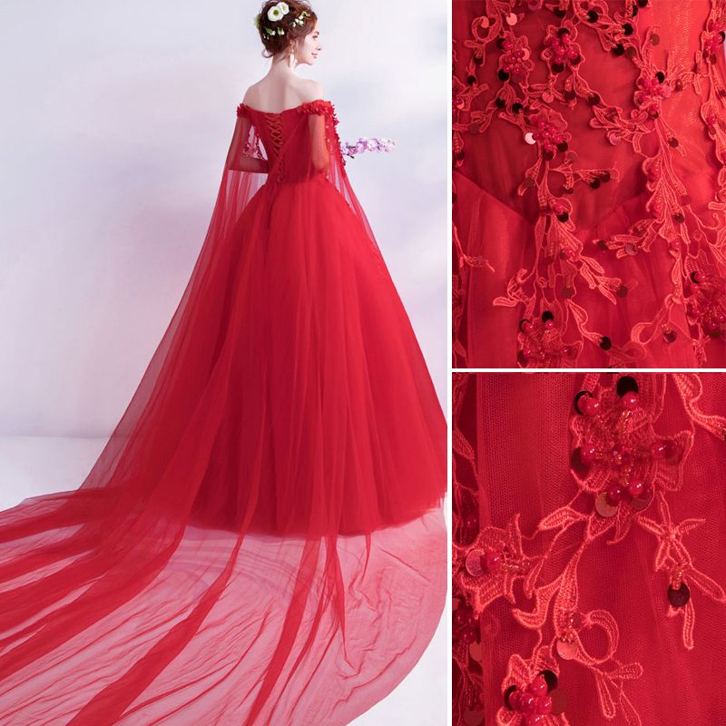 Affordable Red Wedding Dresses 2019 A-Line / Princess Off-The-Shoulder Beading Sequins Appliques Lace Flower Short Sleeve Backless Watteau Train