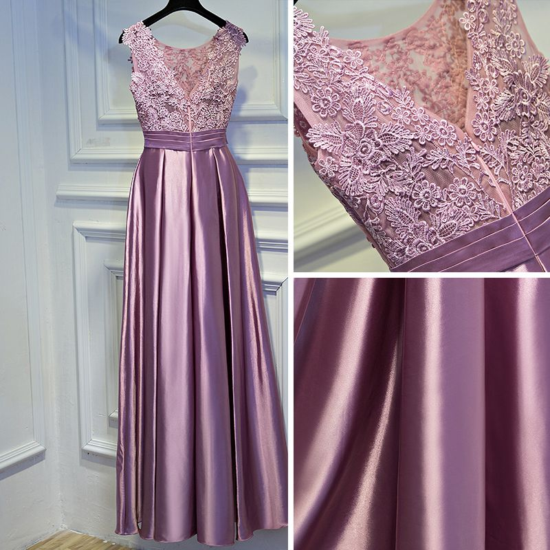 Lovely Candy Pink Formal Dresses 2017 Empire Lace Flower Backless Bow Rhinestone Scoop Neck Sleeveless Ankle Length Evening Dresses