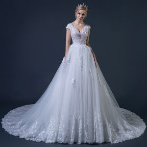 Chic / Beautiful White Wedding Dresses 2018 A-Line / Princess V-Neck Cap Sleeves Backless Appliques Lace Glitter Tulle Feather Ruffle Cathedral Train