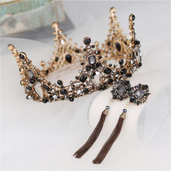 Vintage / Retro Baroque Black Rhinestone Bridal Jewelry 2020 Metal Tiara Tassel Earrings Bridal Hair Accessories