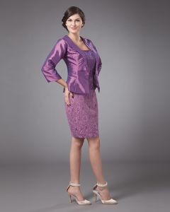 Embroidery Strapless Knee Length Mothers of Bride Guests Dresses